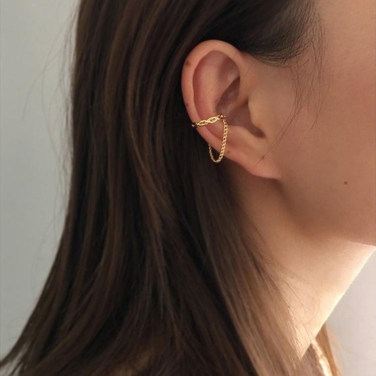 gold chain ear cuff / gold star ear cuff