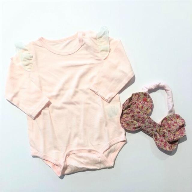 creme chantilly ( クリームシャンティー ) - メモリアルセット 長袖ロンパース・スタイ【pink】