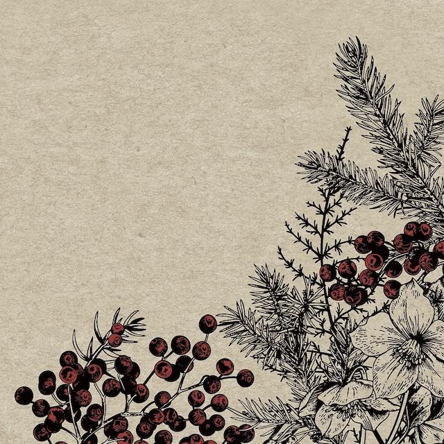 【NATURALS】バラ売り2枚 ランチサイズ ペーパーナプキン BOTANICAL XMAS ナチュラル