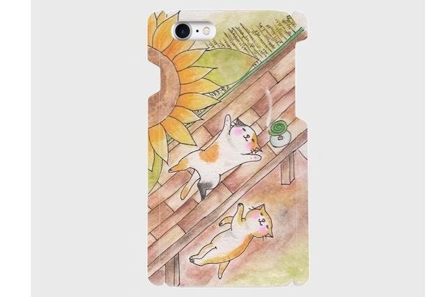 (iPhone用)向日葵と猫のスマホケース