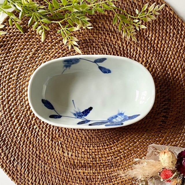 花もよう(ザクロ) オーバル鉢(小)