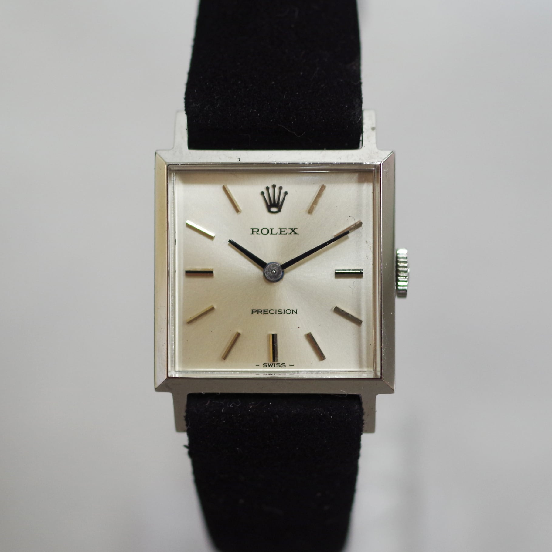 ROLEX ロレックス プレシジョン スクエア SS レザーベルト 手巻き 腕時計 レディース