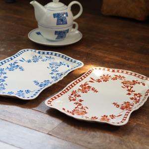 『コーラルとブルーのティープレート/Oriental flower』【ペニンシュラ食器】