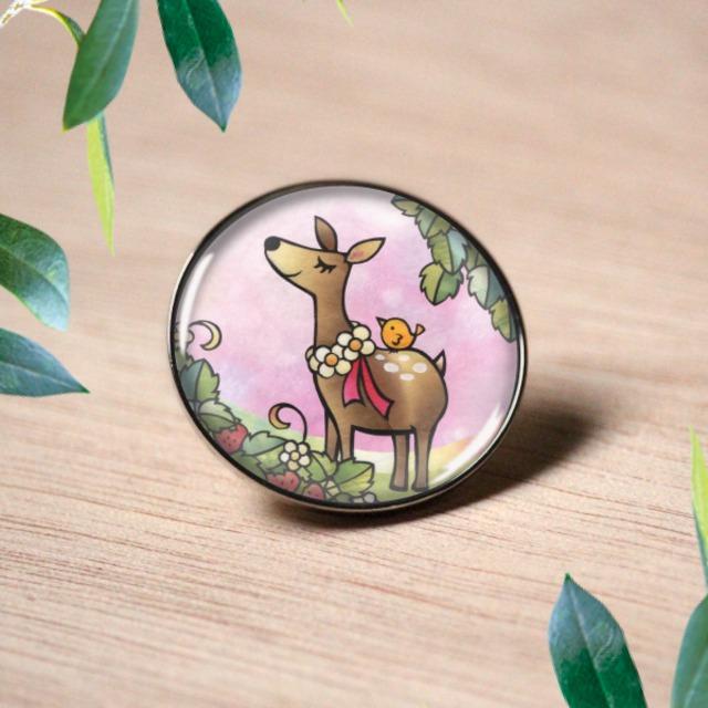 ピンバッチ :  小鹿の花飾り