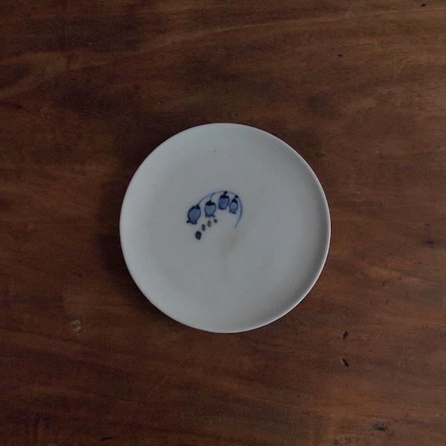 谷野明子|呉須と鉄の小皿 すずらん B