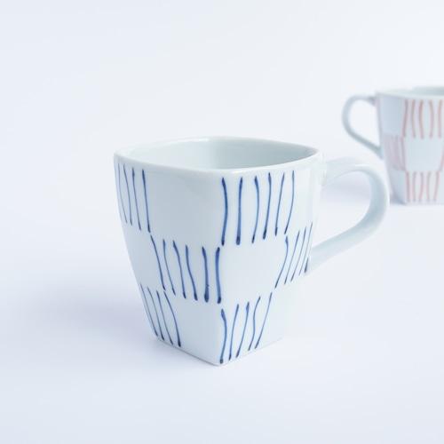 線市松 角マグカップ(青)