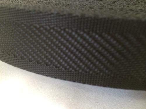 ナイロンテープ  中綾織  38mm幅  1.5mm厚  黒 1m