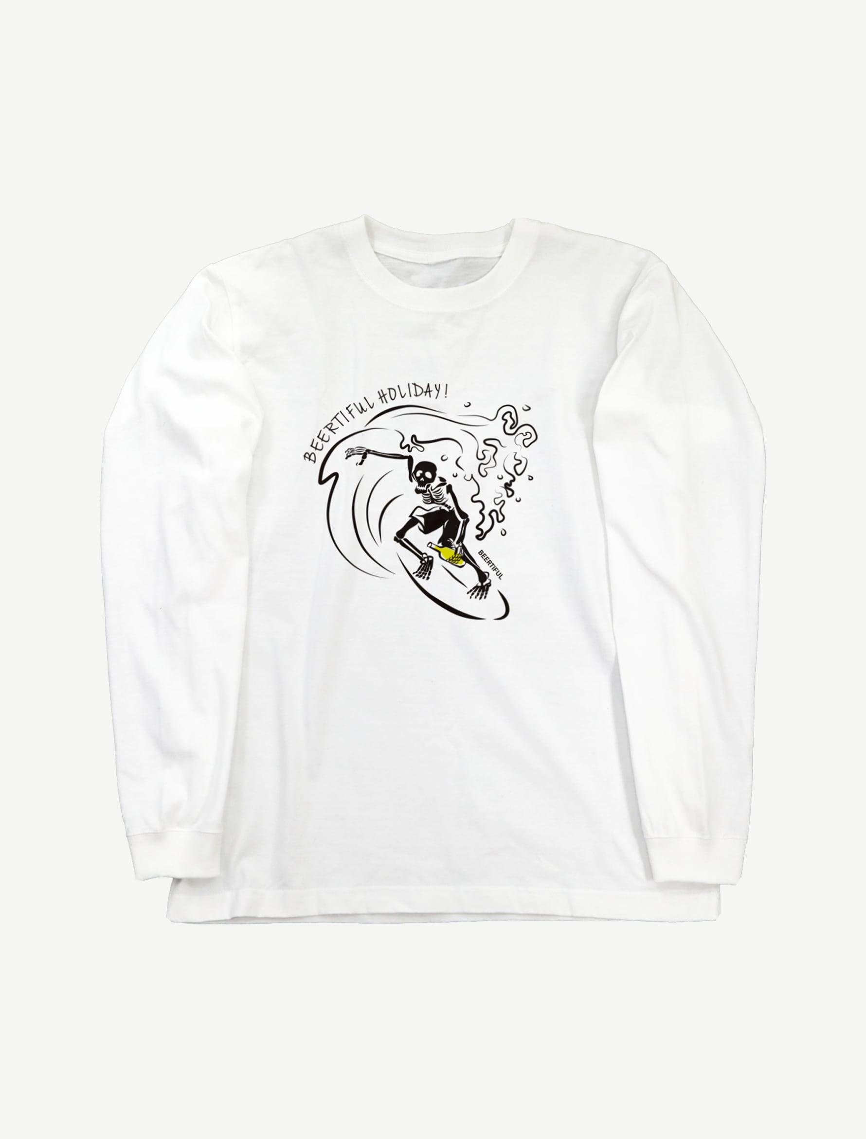 【サーフィンガイコツ】ロングスリーブTシャツ(ホワイト)