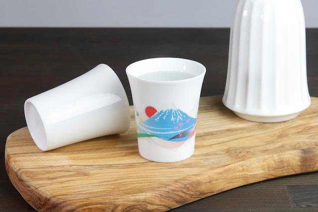 【SP3J52-03】『温度で変化する酒器』『白(小)温感カップ』『富士山』 富士山 白 酒器 ユニーク 浮かび上がる絵 温感 ギフト 温度で変化 綺麗 キレイ かわいい