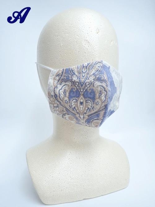 冷感 夏用 バロック立体布マスク ブルー