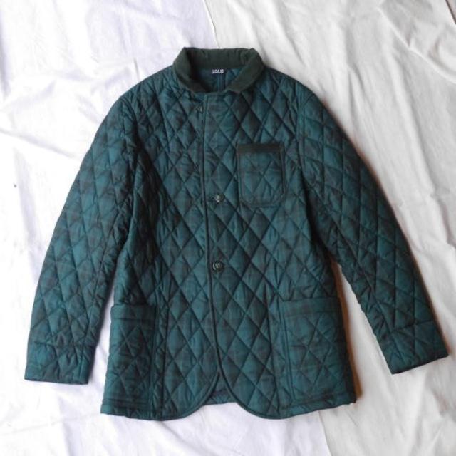 LOLO ロロ タータンチェックキルティングジャケット グリーン×ブラック