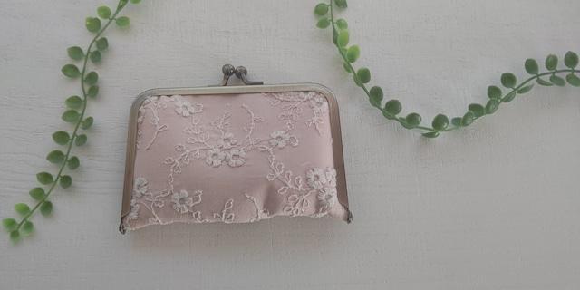 小花刺繍のジャバラ式カードケース&名刺入れ ネイビーブルー