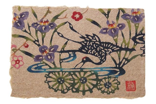 芭蕉紙型染はがき・アヤメに鶴