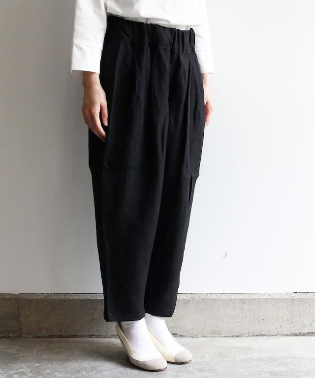 ベルギーリネン生地(リネンキャンバス)のイージーパンツ ブラック  evh334b  着丈90cm