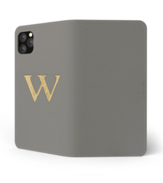 iPhone Premium Smooth Leather Case (Concrete Grey) : Book Cover