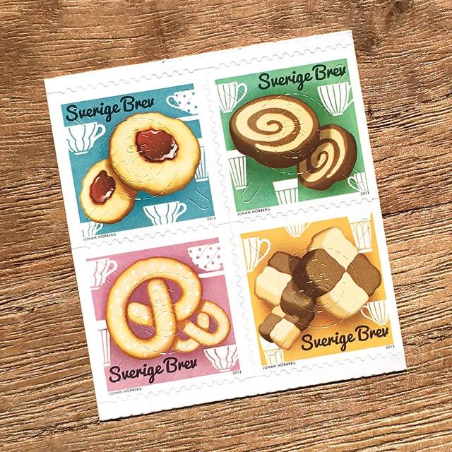 シール切手(未使用)「スウェーデンのクッキー - 4種セット(2013年発行)」