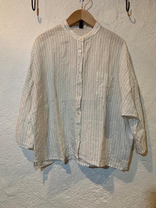 Chloro sister/リネンバンドカラーシャツ ストライプ