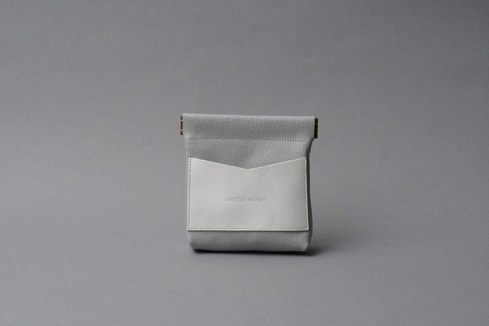 ワンタッチ・コインケース ■ライトグレー・ホワイト■ - 画像1