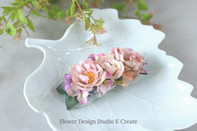 アンティークピンクの薔薇とベリーのバレッタ 髪飾り バレッタ  入学式 卒業式 結婚式 フォーマル