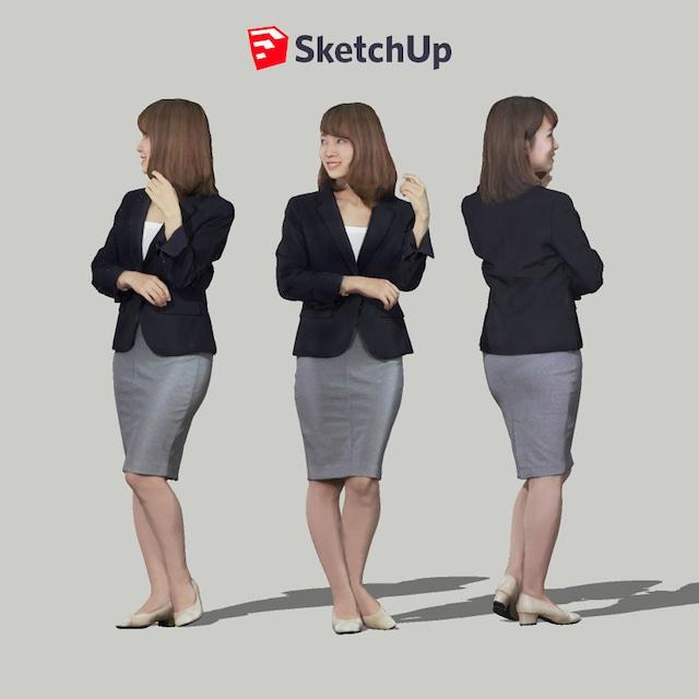 SketchUp素材 3D人物モデル ( Posed ) 013_Kana - メイン画像