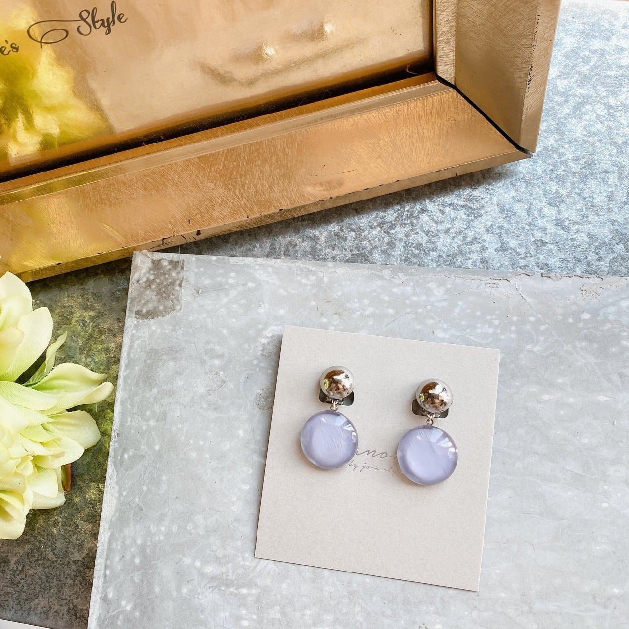""" Earrings NO.danoan-136″ シンプルメタルカボショングレー"