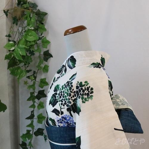 綿麻 白地に紫陽花の浴衣