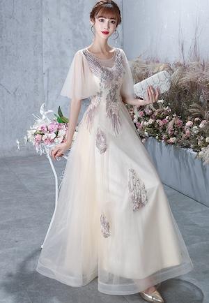 ホワイト ロングドレス メッシュ パーティードレス TM0233