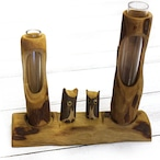 【KEN】木彫りフクロウの一輪挿し/インテリア