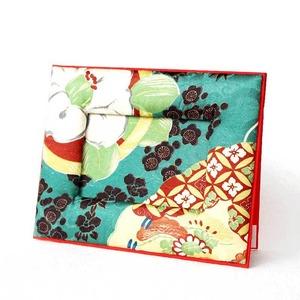 和風写真たて インテリア雑貨 アンティーク着物リメイク 緑・扇・七宝紋様
