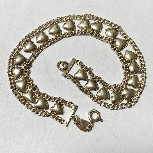 Vintage Sterling Silver Heart Link Bracelet ①