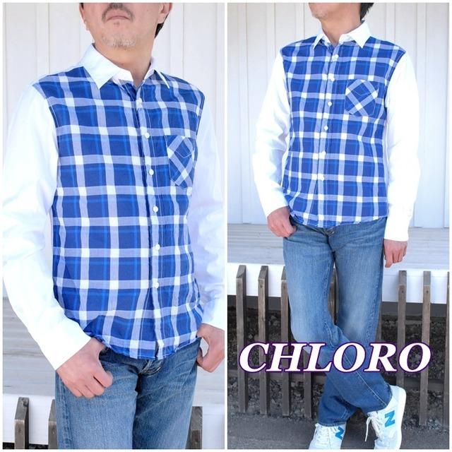 上質の綿100%の生地を使用し、異素材の生地を組み合わせた斬新なデザインCHLORO クロロ メンズ 長袖シャツ C317 チェック柄