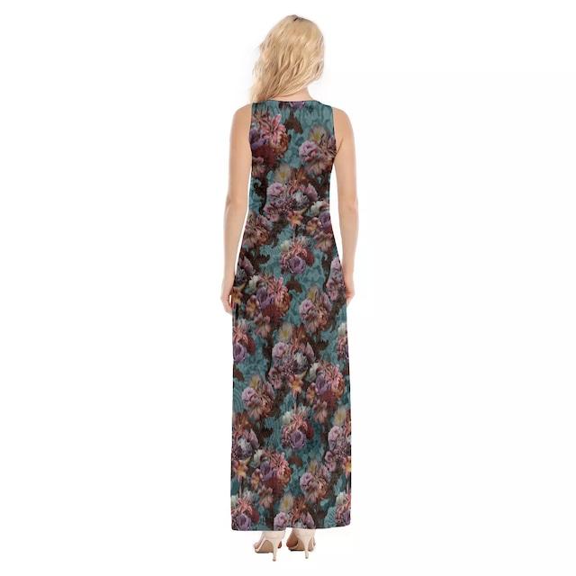 芍薬牡丹百合 ブルー マキシタンクドレス