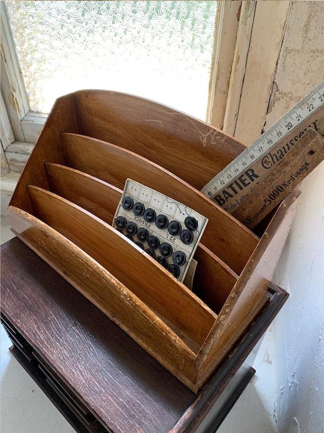 木製卓上レターラック ライトブラウン