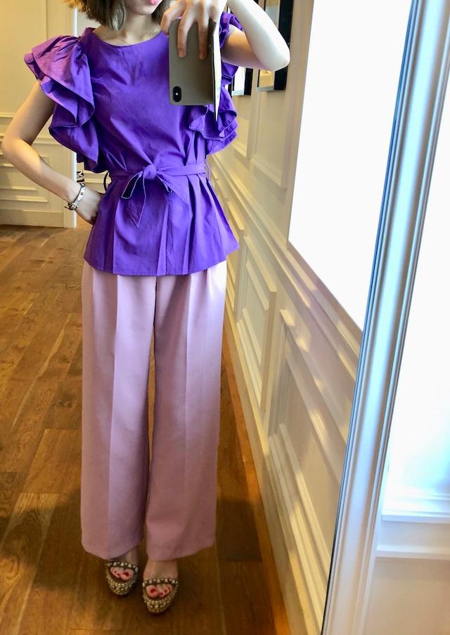 FRILL BLOUSE -purple-