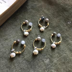 Owly.original earrings (ラウンドxパール)