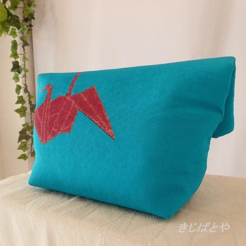 和裁士さんが考えたバッグインバッグ ピーコックブルーに折鶴/黒地に花
