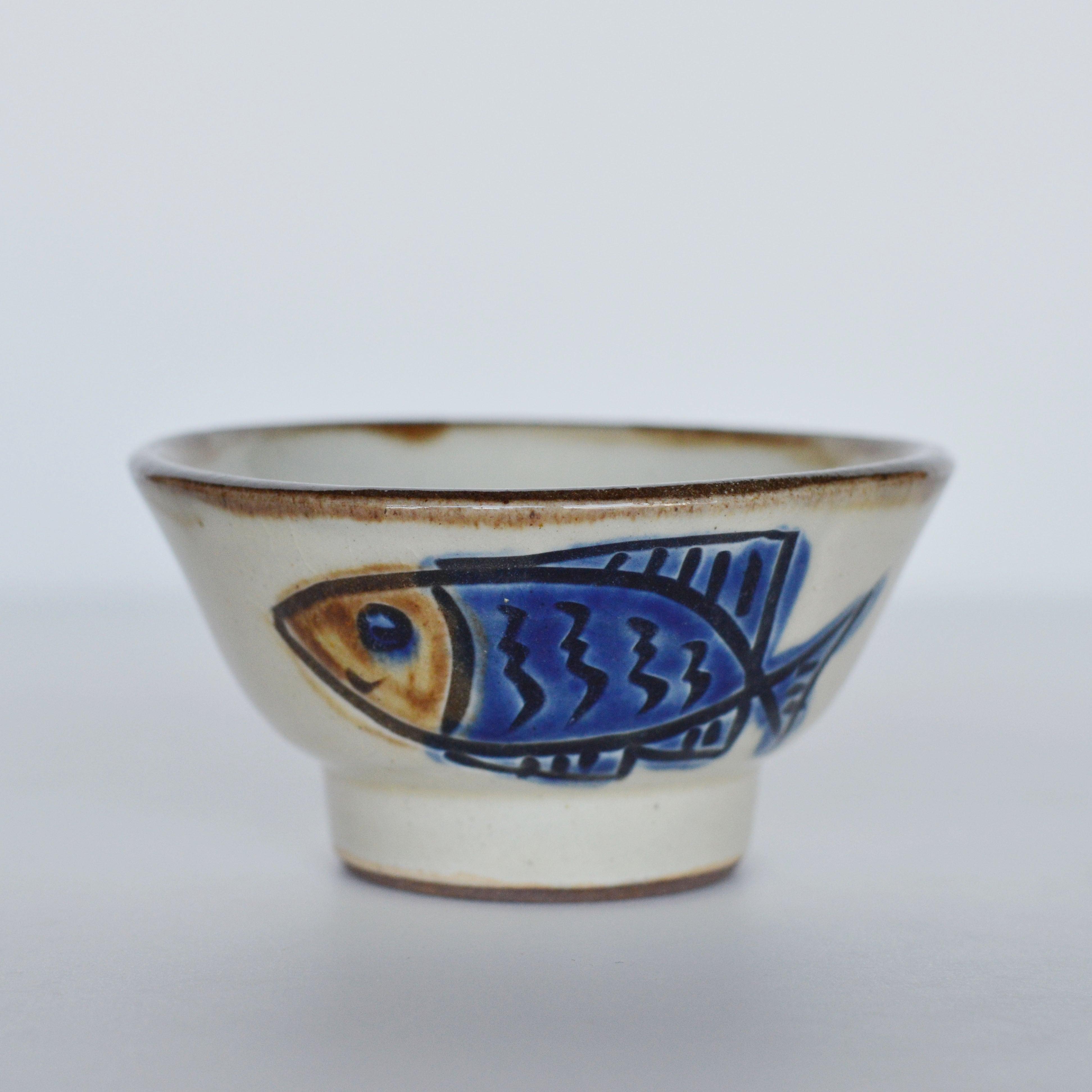 3.5寸マカイ  魚紋コバルト ノモ陶器製作所
