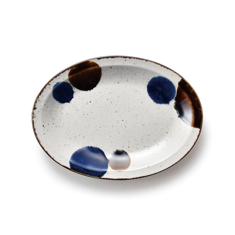 aito製作所 「るり玉 Dots of Ruri」オーバル プレート 皿 約21×15cm グレー 美濃焼 288081