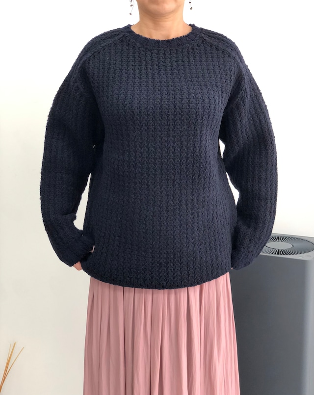 Kemit 【ケミット 】ラーベン編み ニット セーター ブラウン/ネイビー
