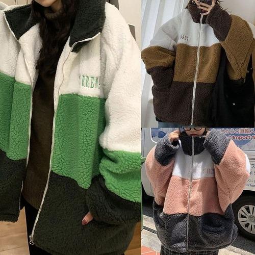 ボアブルゾン ラムウール 韓国ファッション レディース ボアジャケット ボア オーバーサイズ コントラストカラー ストリート DTC-606347130963