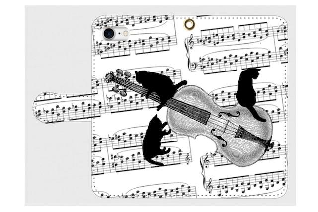 (iPhone用)バイオリンと黒猫の手帳型スマホケース