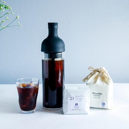 『水出しコーヒースターターセット』フィルターインボトルとオリジナル巾着袋入りコーヒー豆のセット