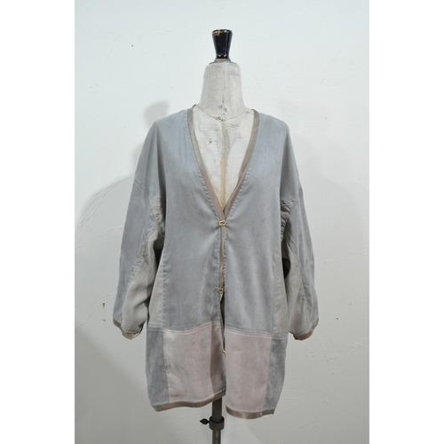 【RehersalL】suede no collar coat(gray) /【リハーズオール】スエードノーカラーコート(グレー)
