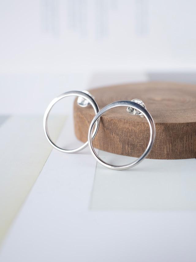 ◯ Circle Stud Earrings  18mm / Silver - 011