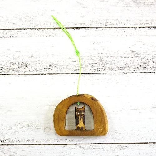 【KEN】オリーブ木工・木彫りフクロウの壁掛け/インテリア