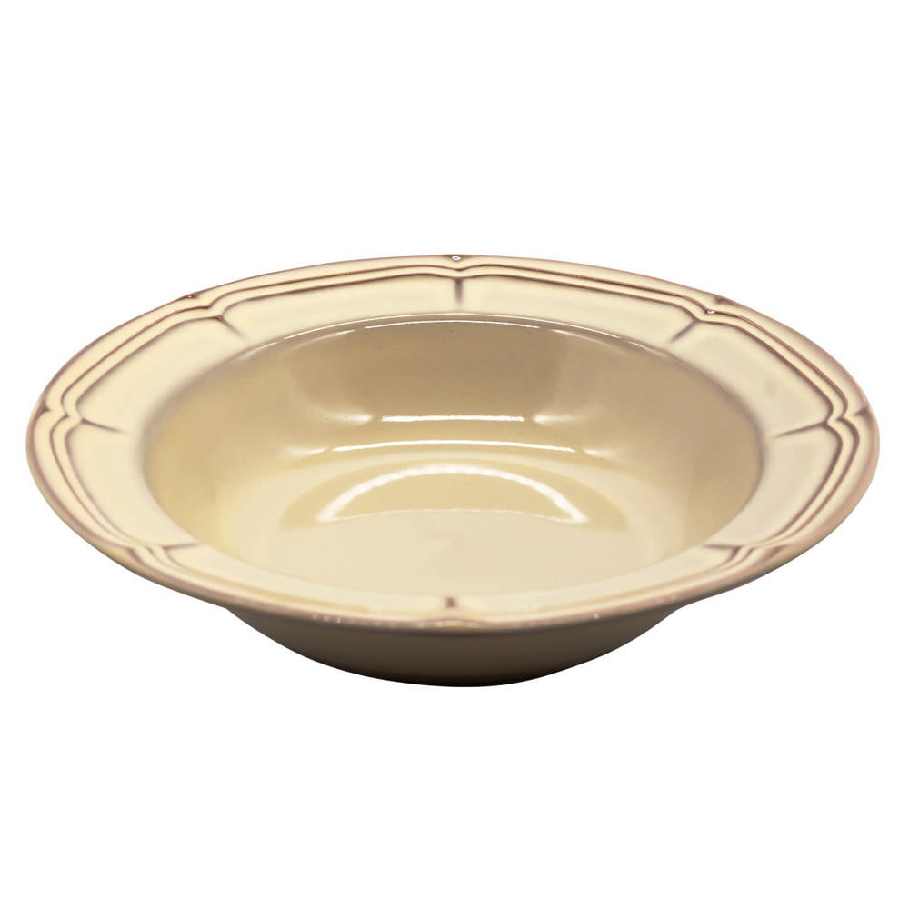 Koyo ラフィネ リムスープボウル 皿 約21.5cm シナモンベージュ 15922012