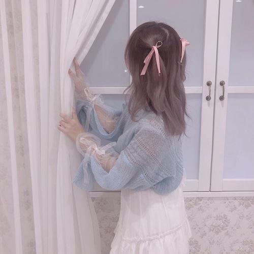 tulle & ribbon sleeve knit