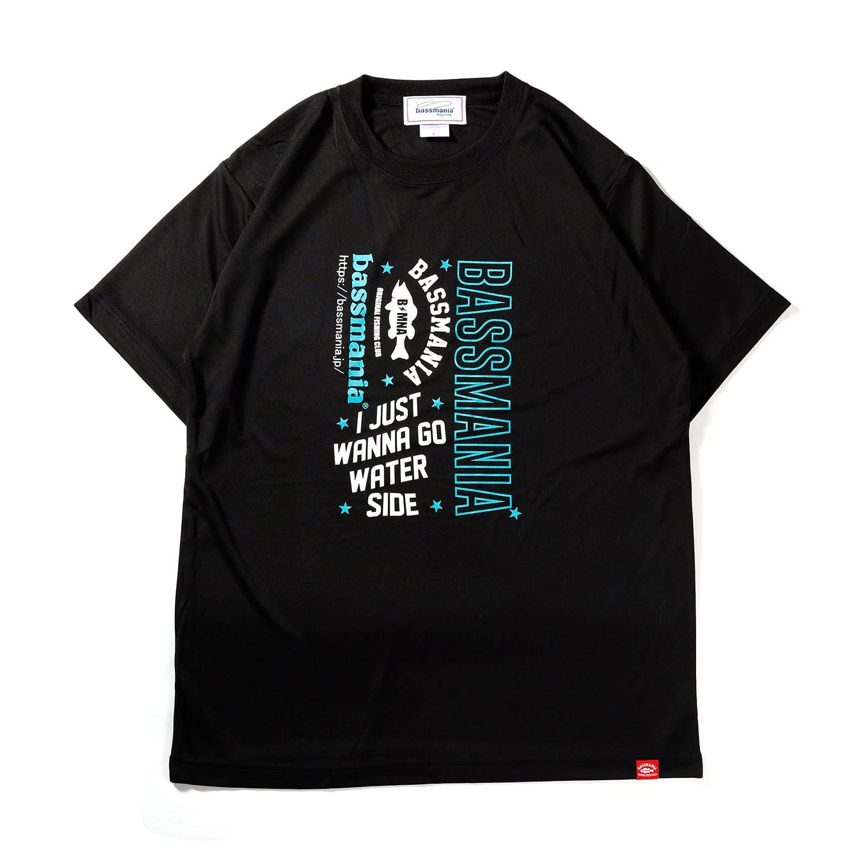 BASSMANIAロゴ UV DRY Tシャツ[BLK×BLU]