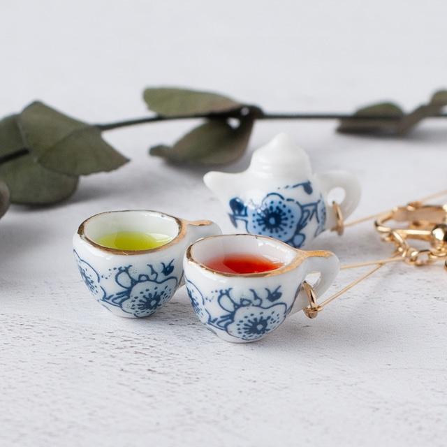 青梅陶器のティーセット イヤリング2種 (紅茶 or 青茶)
