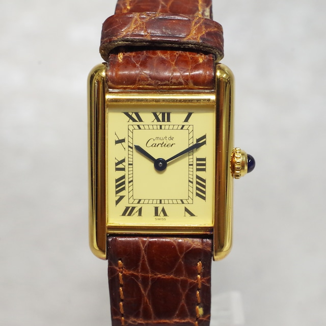 Cartier カルティエ マストタンク ヴェルメイユ GP クォーツ 革ベルト 腕時計 レディース